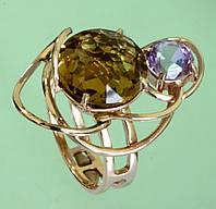 Золотий перстень  з аметистом та кварцом
