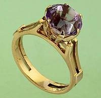 Золотий перстень  з аметистом