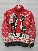 Детский свитер с оленями для девочек Кораловый 122,128,134,140 роста