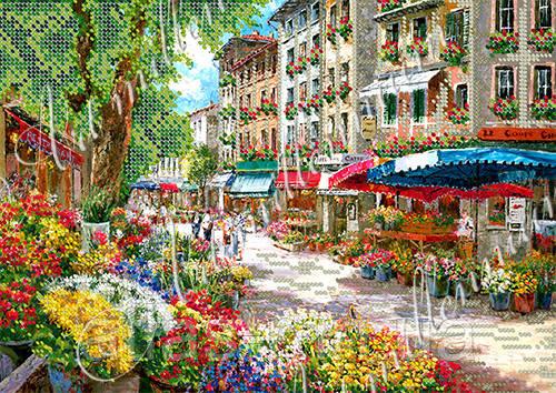 """А4 """"Квітковий ринок"""" схема для часткової вишивки бісеро"""