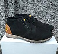 Зимние кожаные мужские ботинки черногоцвета
