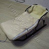 Меховой конверт в коляску и санки Микс (молочный)