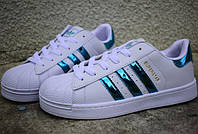 Жіночі Adidas SuperStar white/blue, фото 1