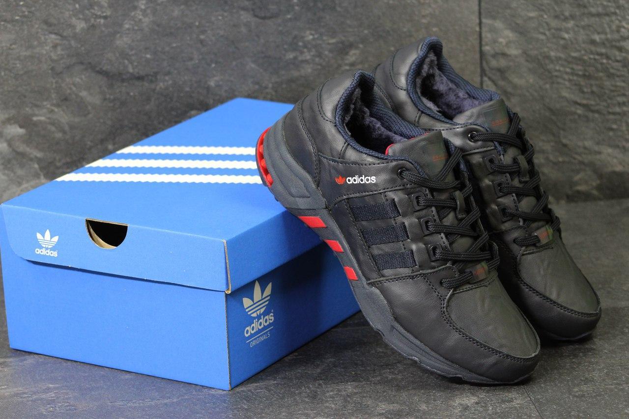 Кроссовки Adidas мужские зимние (темно-синие с красным), ТОП-реплика