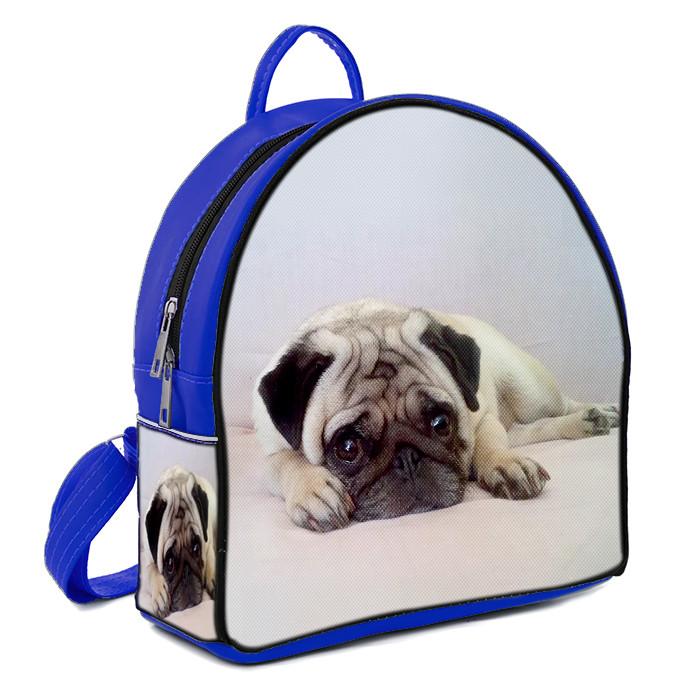 Синий модный женский рюкзак с принтом Мопс