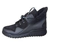 Мужские зимние кожанные велюровые замшевые ботинки-Кроссовки Adidas Tubular