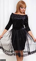 Коктейльное женскоеплатьеприлегающегофасона с фатиновой юбкой рукав три четверти бархат батал