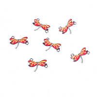 Коннектор Стрекоза, Цинковый сплав, Фурнитура, Серебряный тон, Красный & Желтый, Эмаль, 24 мм x 17 мм