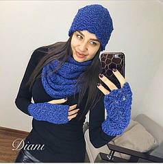 Вязаный комплект митенки, шапка на флисе и шарф-снуд