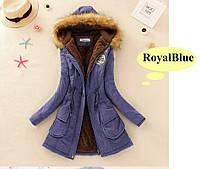 """Молодежная куртка парка """"ARMY"""" с мехом и капюшоном  Royal Blue"""