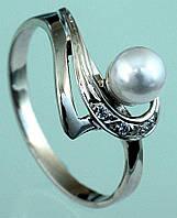 Золотий перстень  з діамантом та перлиною