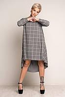 """Женское модное теплое платье """"Клетка"""".теплый трикотаж. Серое. Размеры S,M,L,XL. (42,44.46,48,50) Коллекция осе"""