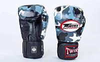 Перчатки боксерские кожаные на липучке TWINS (р-р 10- 16 oz)