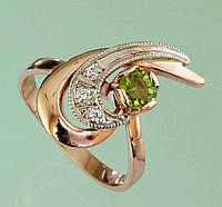 Золотий перстень  з діамантом та перидотом