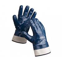 Перчатки рабочие х/б с полным покрытием нитрилом (тверд. манжет)
