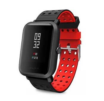 Двухсторонний ремешок с перфорацией Primo для часов Xiaomi Amazfit Bip/Bip Lite/Amazfit Bip GTS - Black&Red