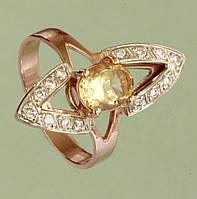 Золотий перстень  з діамантом та цитрином