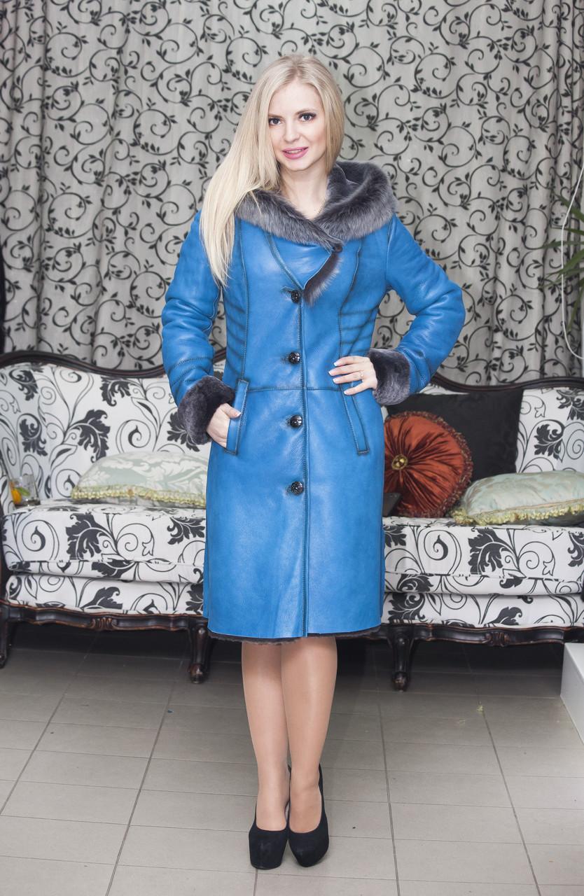 Дубленка  женская Oscar Fur   357 Голубой