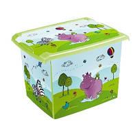 Ящик для игрушек с крышкой 20л Hippo