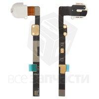 Шлейф для планшета Apple iPad Mini, коннектора наушников, с компонентами, белый