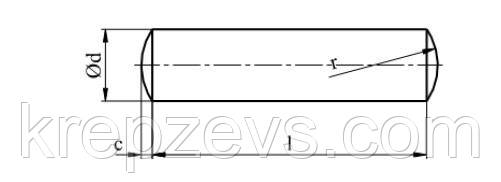 Схема штифта ГОСТ 3128-70