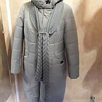 Пальто зимнее с шарфом длинное