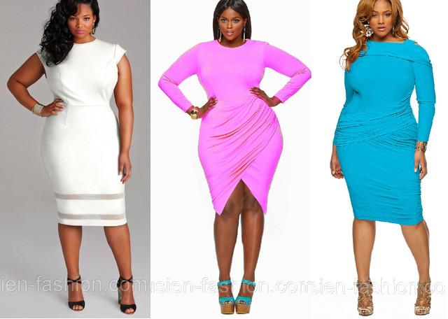 Мода для полных 2014. Яркие модные платья Lusien для полных женщин большого размера.