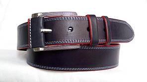 Стильний джинсовий  ремінь 45мм, синій  з подвійною  білою ниткою краї  червоні