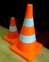 Конус дорожный сигнальный со светоотражающими полосами и без Оранжевый