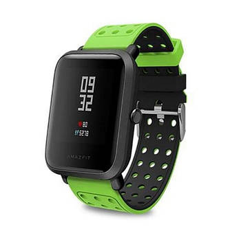 Двухсторонний ремешок с перфорацией Primo для часов Xiaomi Amazfit Bip/Bip Lite/Amazfit Bip GTS - Black&Green