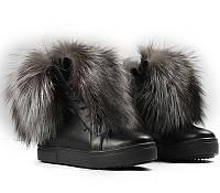 Женские зимние ботинки FWL с мехом наружу, черные