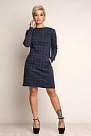 """Женское теплое платье """"Клетка-2"""". Теплый трикотаж. Серое. Размеры S,M,L,XL. (42,44.46,48,50) Коллекция осе"""