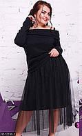 Оригинальноеженскоеплатьеприталеного фасона с фатиновой юбкой рукав длинный дайвинг батал