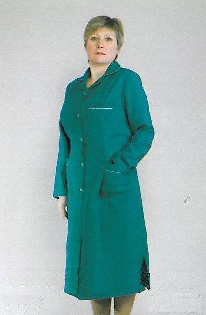 Зелёный женский медицинский халат батал