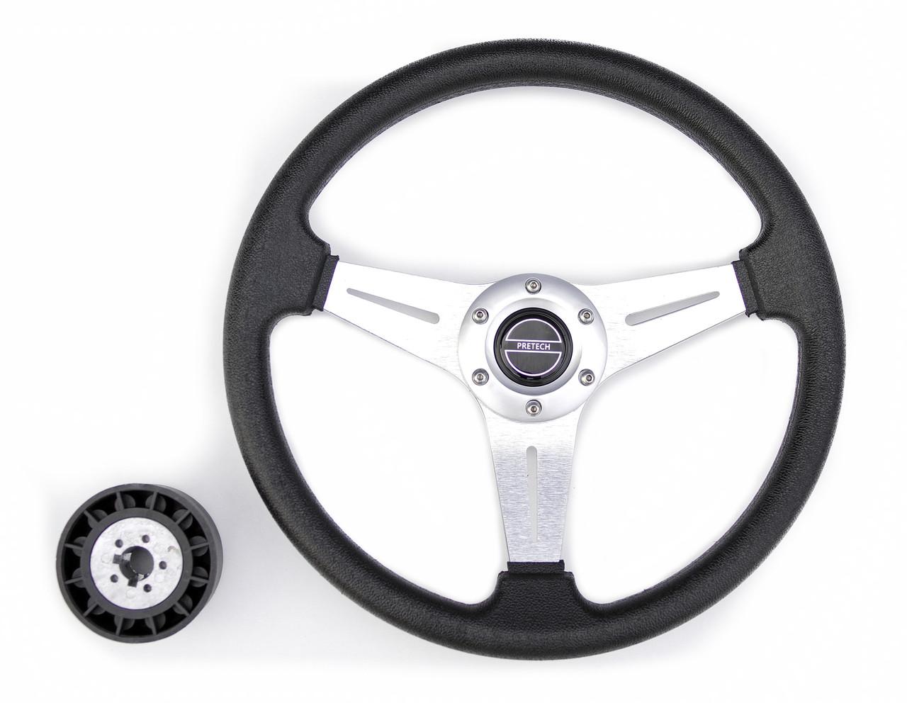 Руль PRETECH HD-5125D 350мм, PU, спицы серебро, черный