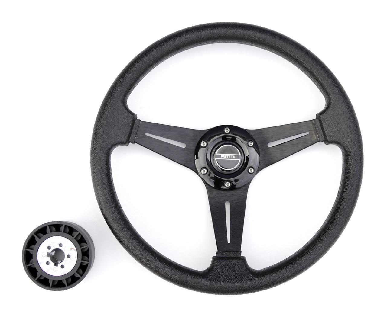 Руль PRETECH HD-5125D 350мм, PU, спицы черные, черный