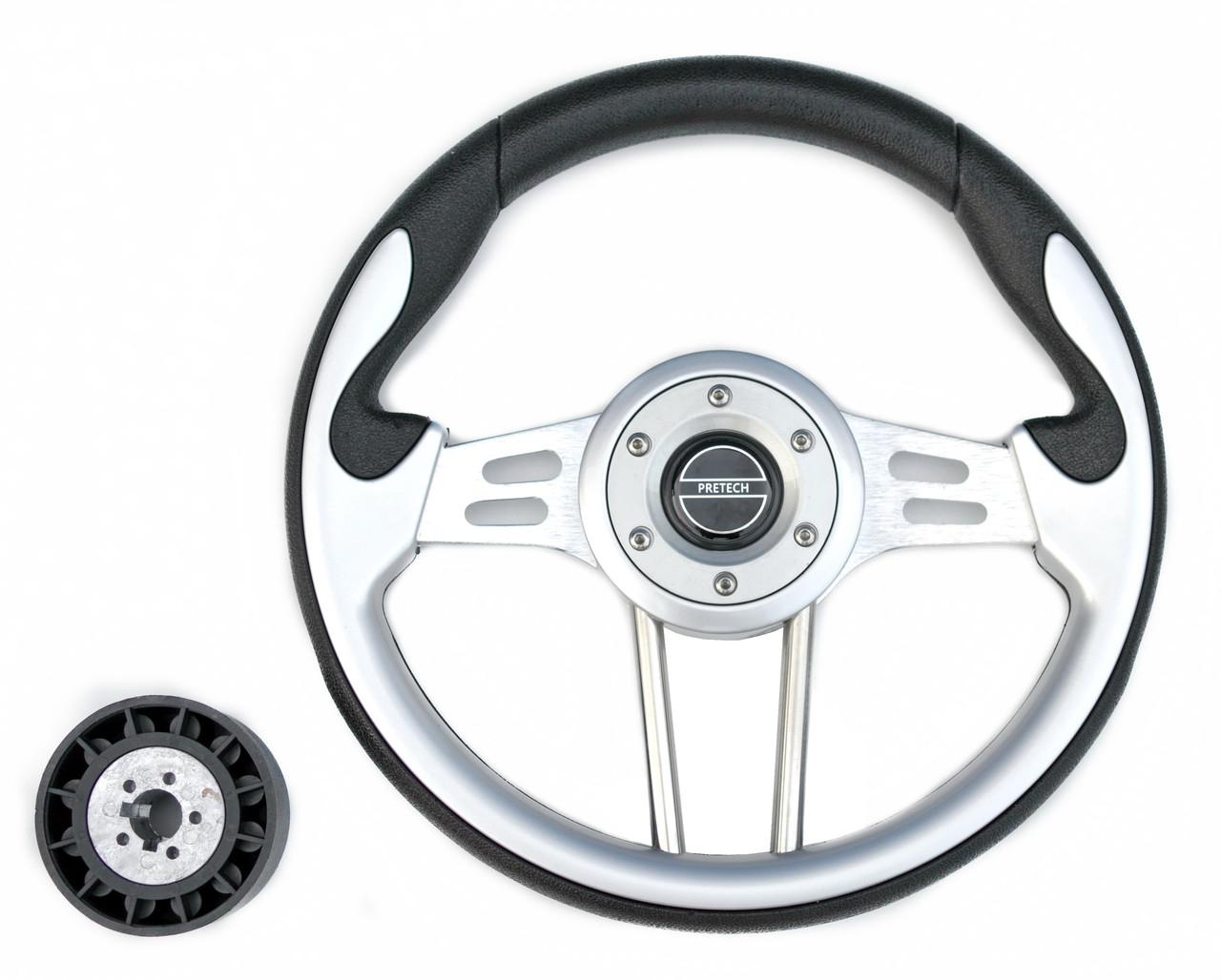 Руль PRETECH HD-5181 330мм, PU, спицы серебро, серый