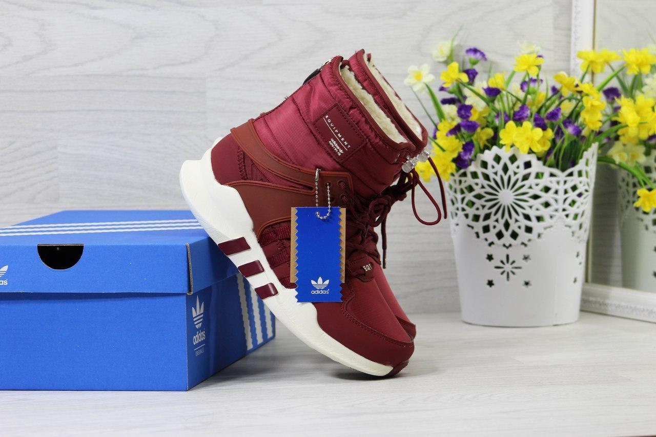 Ботинки Adidas Equipment женские зимние (бордовые), ТОП-реплика