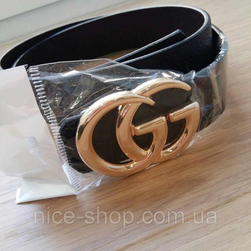 Ремень Gucci черный с золотой глянцевой пряжкой, средний, 3,2 см, фото 2
