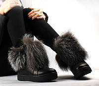 Стильные женские зимние ботинки FWL с мехом наружу, черные блестящие