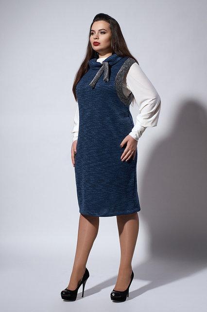 df6194fb486 Темно-синий женский сарафан делового стиля без рукава