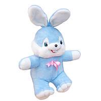 Мягкая игрушка Заяц Сеня большой голубой