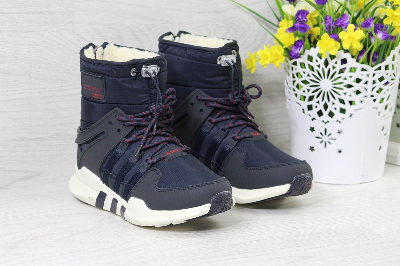 Ботинки Adidas Equipment женские зимние (темно-синие), ТОП-реплика