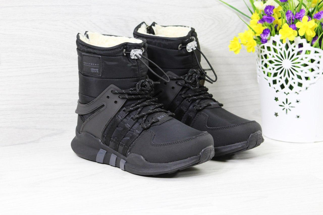 Ботинки Adidas Equipment женские зимние (черные), ТОП-реплика