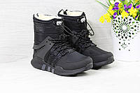 Ботинки Adidas Equipment женские зимние (черные), ТОП-реплика, фото 1