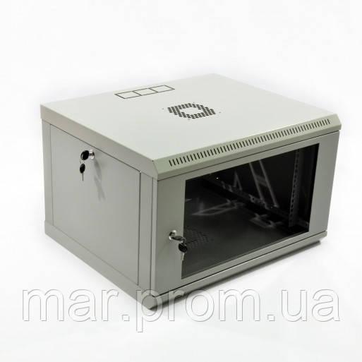 Шкаф 6U, 600x350x373мм (Ш * Г * В), эконом, акриловое стекло, серый