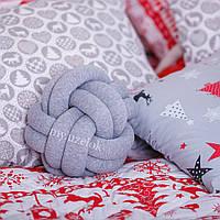 Декоративная подушка узел, серый меланж