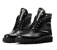 Женские ботинки в стиле Philipp Plein, черные с заклепками