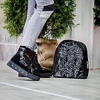 Нарядный кожаный черный рюкзак 90351