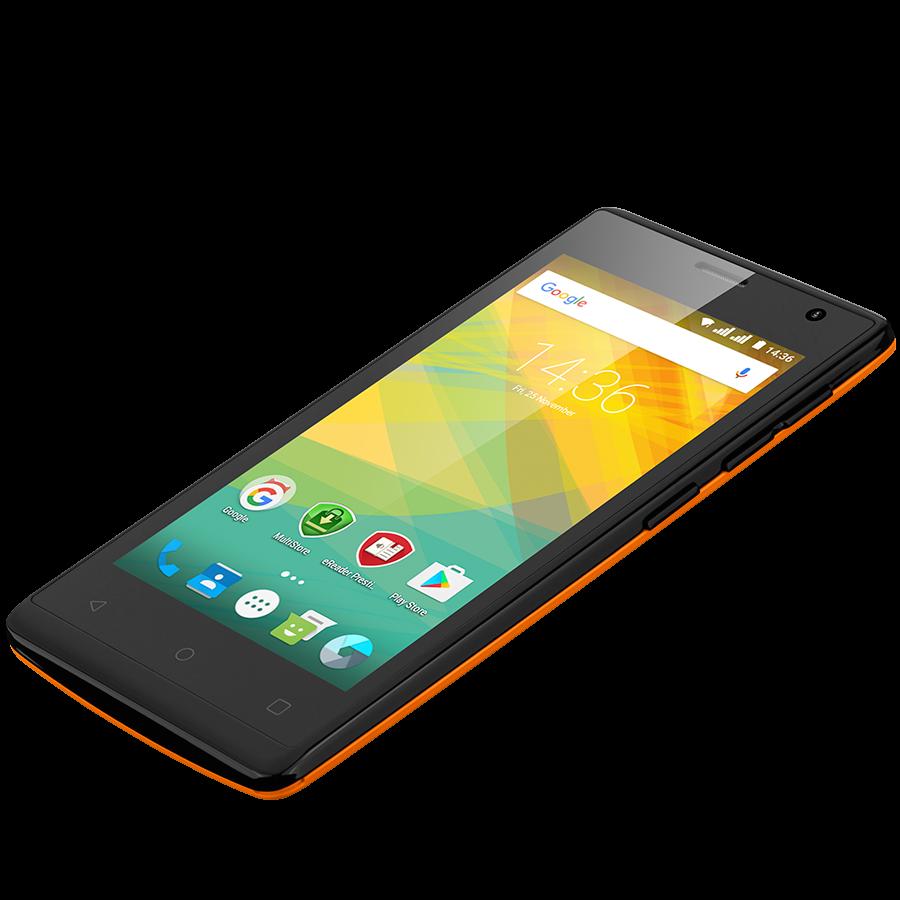 Удобный компактный смартфон на 2 сим карты 4,5 дюйма 4 ядра 0,5/4Gb Prestigio Wize OK3 оранжевый